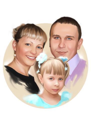 Семейный портрет по фото на холсте в Йошкар-Оле — правильный подарок!