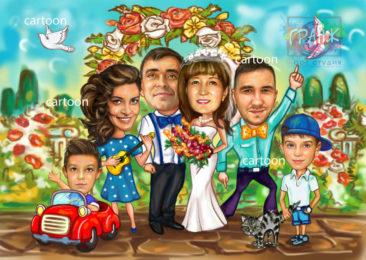Шарж по фото на годовщину свадьбы на заказ в Йошкар-Оле…